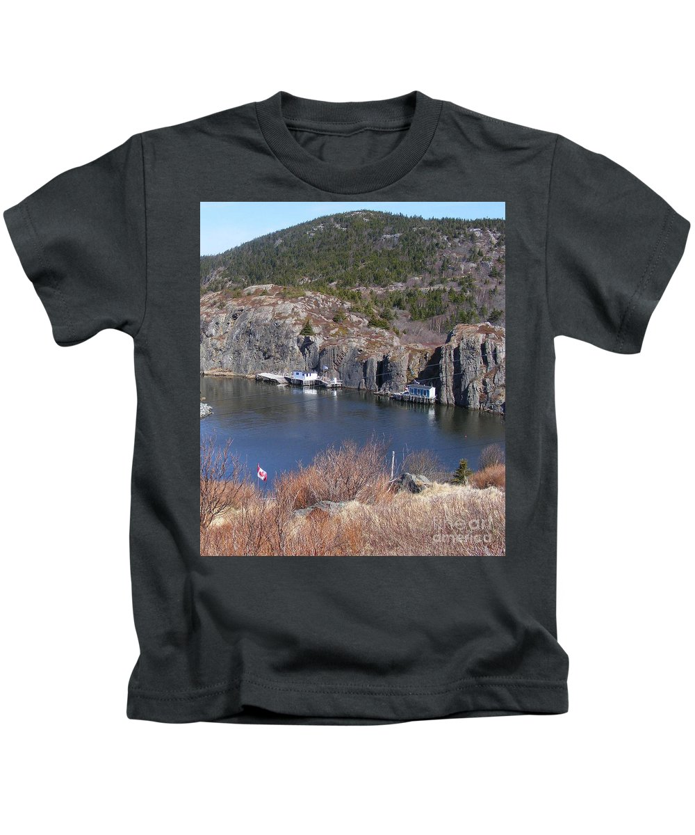 Fishing Village Kids T-Shirt featuring the photograph Quidi Vidi Fishing Stages by Barbara Griffin