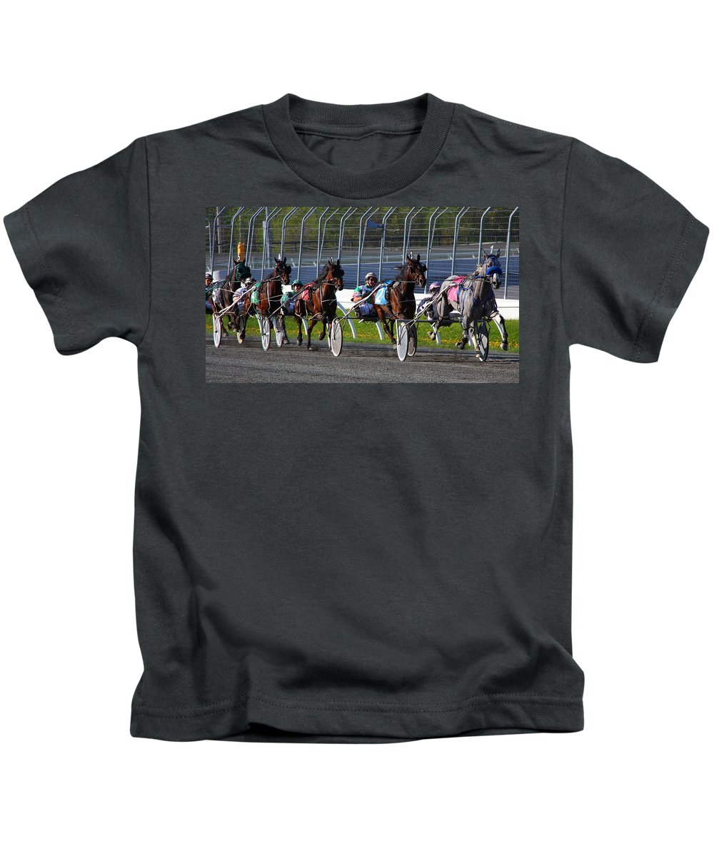 Horse Kids T-Shirt featuring the photograph Race To The Finish by Davandra Cribbie