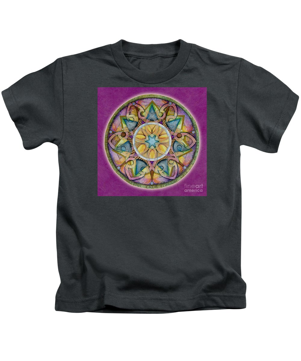 Mandala Art Kids T-Shirt featuring the painting Radiant Health Mandala by Jo Thomas Blaine