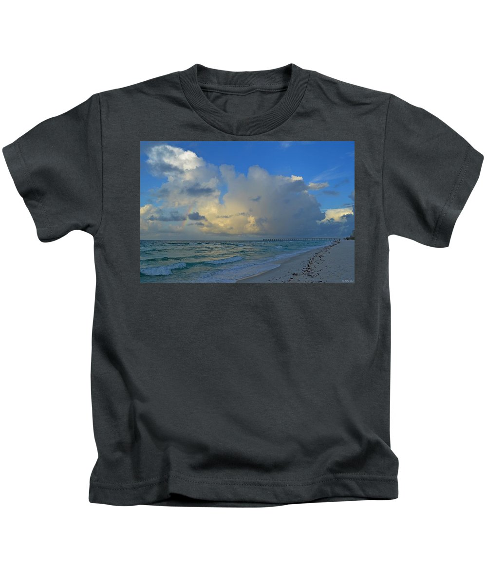 Rainbow Kids T-Shirt featuring the photograph Rainbow Producing Cumulonimbus Rain Shower On The Gulf Off Navarre Beach by Jeff at JSJ Photography