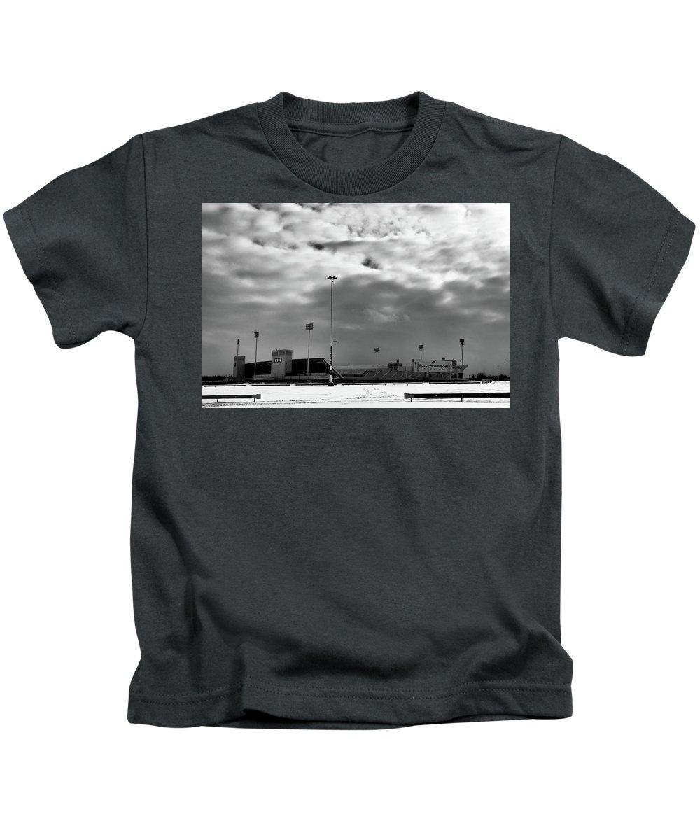 Buffalo Bills Kids T-Shirt featuring the photograph Ralph Wilson Stadium - Off Season by Guy Whiteley