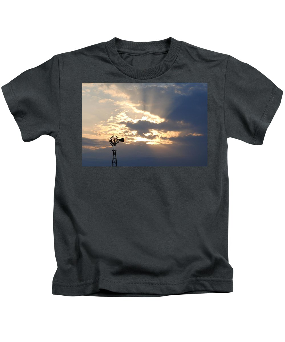 Windmill Kids T-Shirt featuring the photograph Rays Behind The Mill by Eric Liller