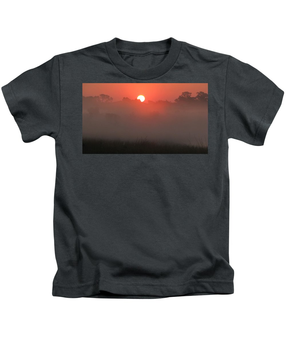 Misty Kids T-Shirt featuring the photograph Red Dawn by Peg Urban