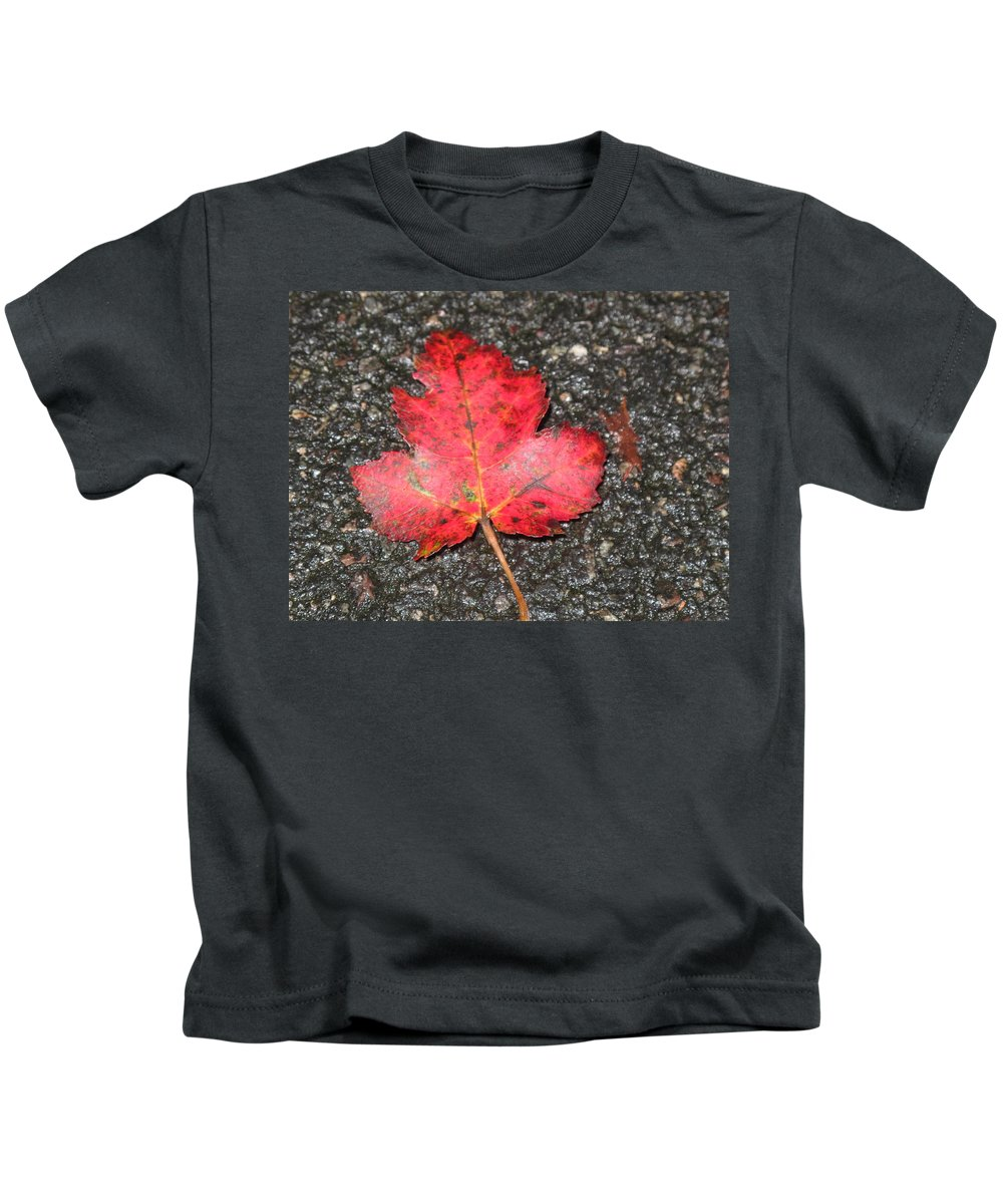 Leaves Kids T-Shirt featuring the photograph Red Leaf On Pavement by Barbara McDevitt