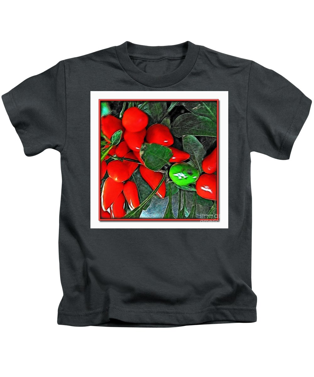 Botanical Kids T-Shirt featuring the photograph Red Pepper Plant by Joan Minchak
