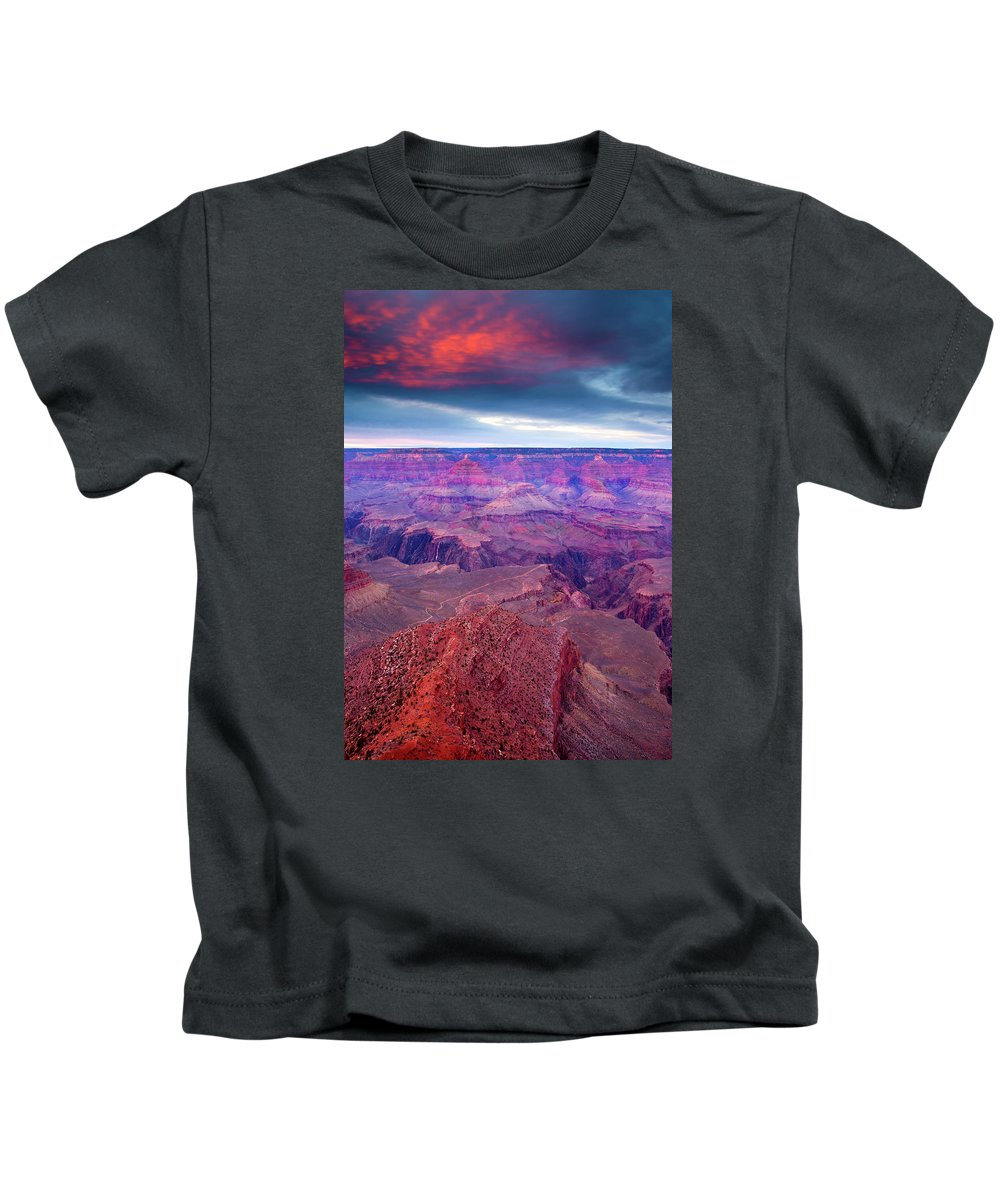 Grand Canyon Kids T-Shirt featuring the photograph Red Rock Dusk by Mike Dawson