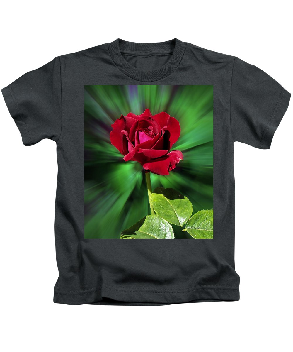 Red Rose Kids T-Shirt featuring the photograph Red Rose Green Background by Thomas Woolworth