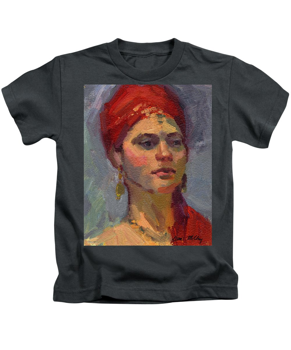 Red Turban Kids T-Shirt featuring the painting Red Turban by Diane McClary