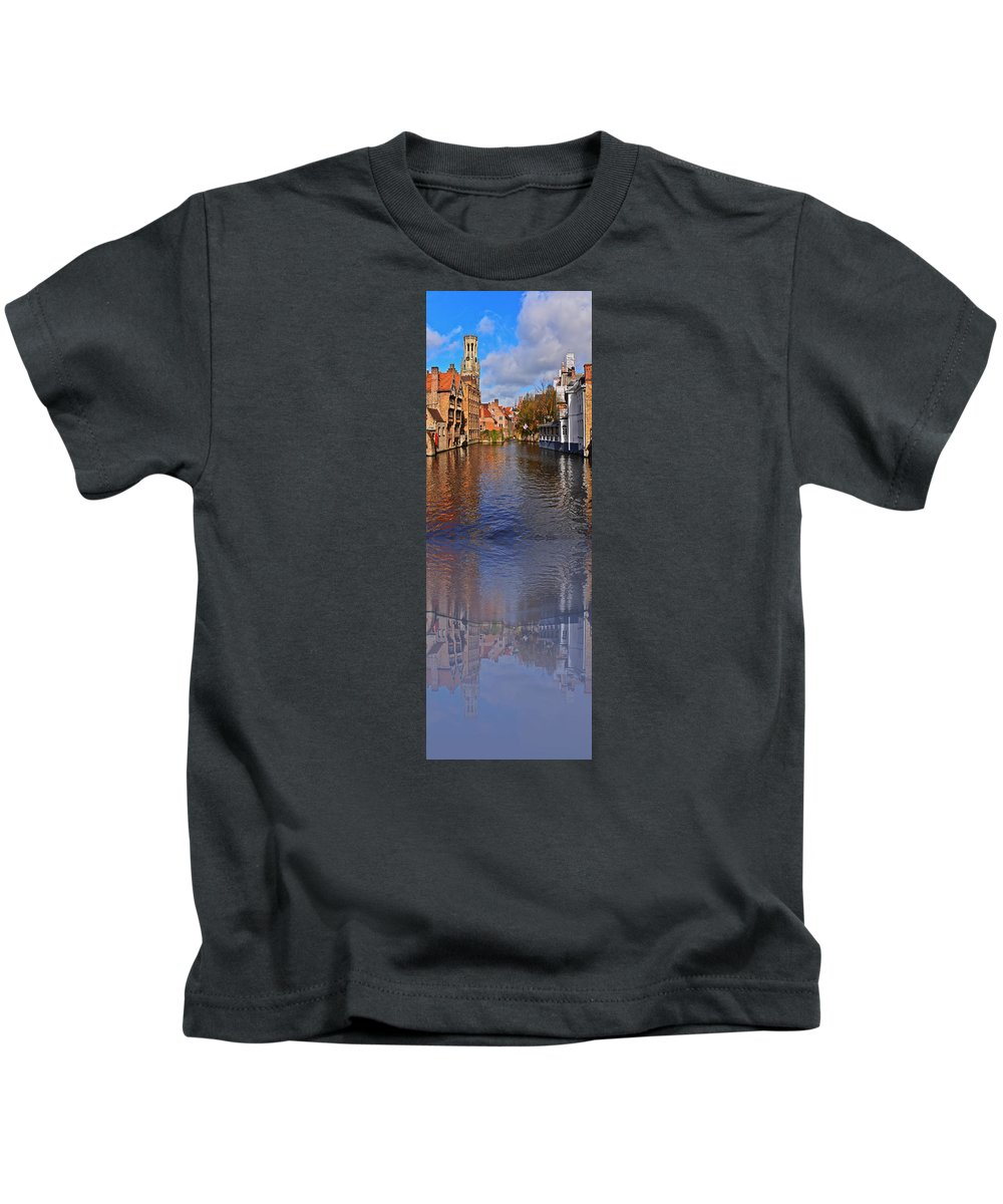 Travel Kids T-Shirt featuring the photograph Reflection In Canal by Elvis Vaughn