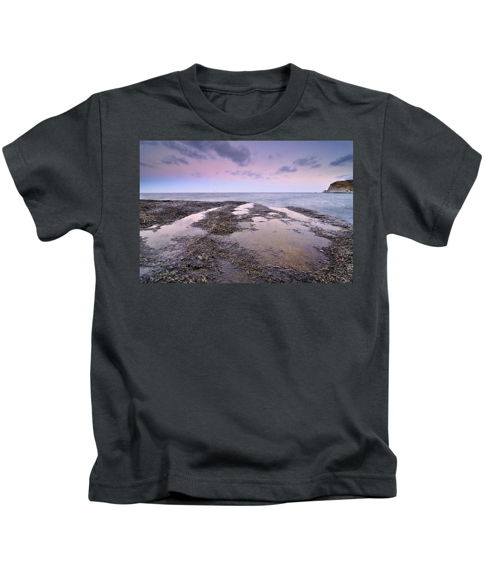 Seascape Kids T-Shirt featuring the photograph Reflections In Pink by Guido Montanes Castillo