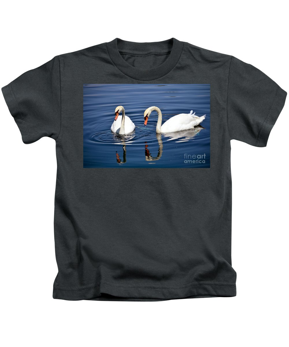 Swans Kids T-Shirt featuring the photograph Reflections Of Elegance by Deb Halloran