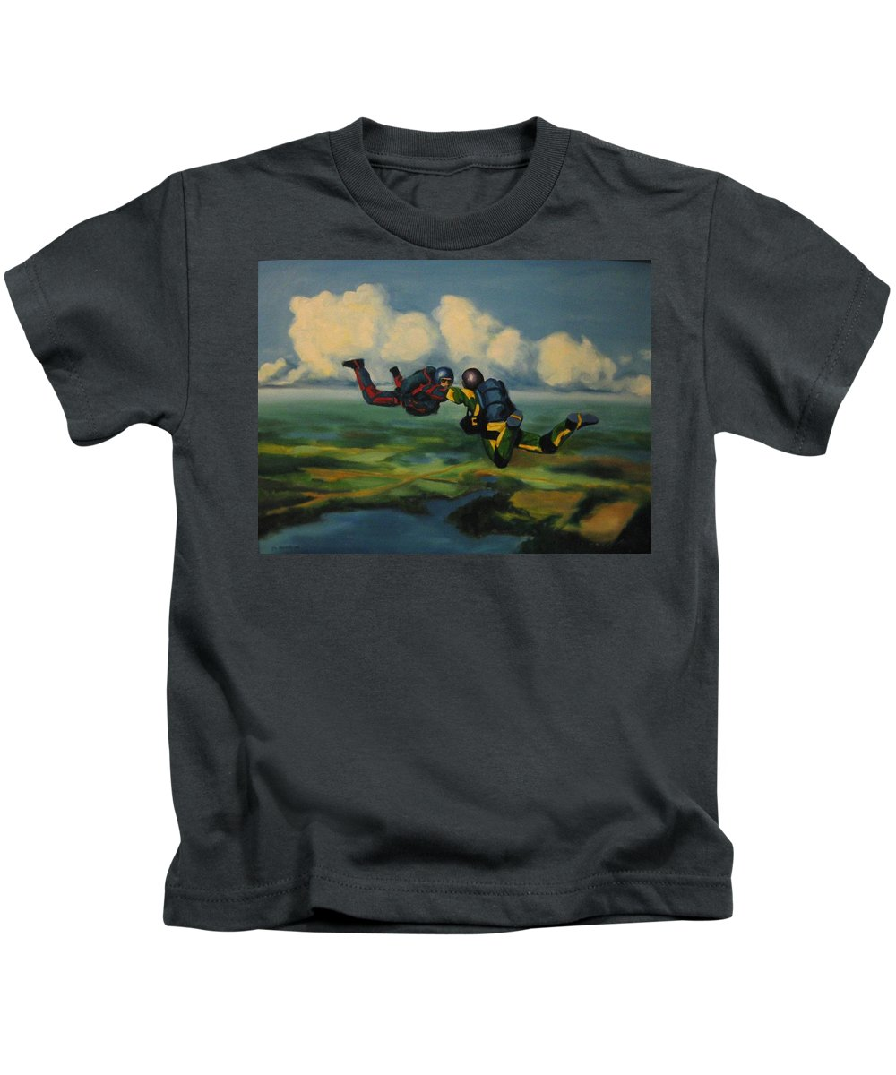 Skydivers Kids T-Shirt featuring the painting Relative Work by John Malone