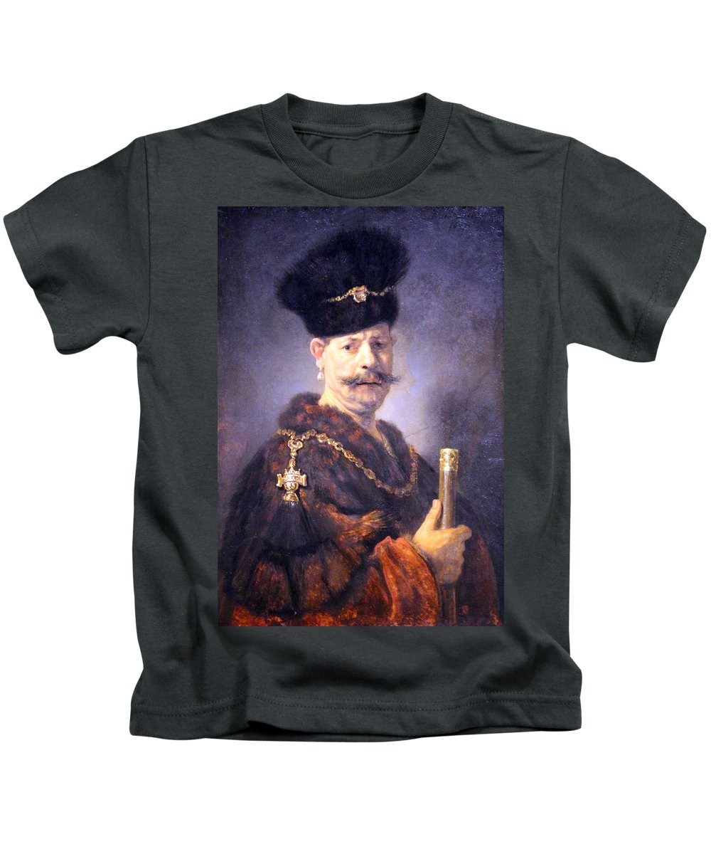 A Polish Nobleman Kids T-Shirt featuring the photograph Rembrandt's A Polish Nobleman by Cora Wandel