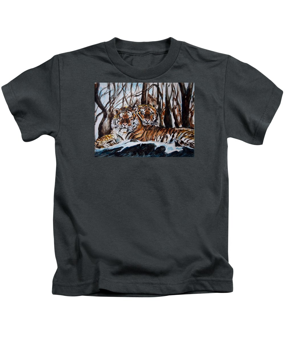 Tiger Kids T-Shirt featuring the painting Resting by Harsh Malik