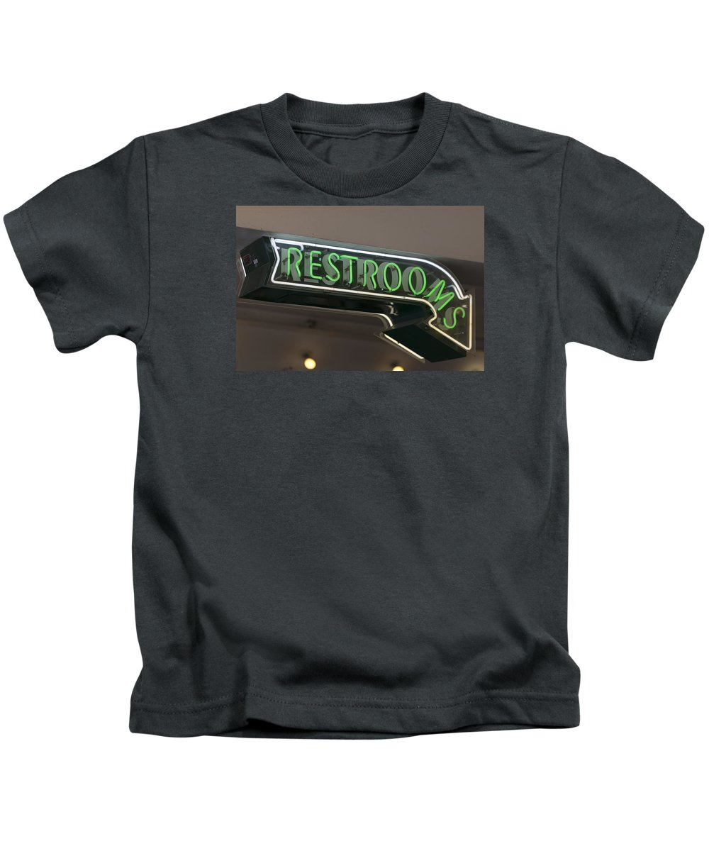 Sign Kids T-Shirt featuring the photograph Restrooms In Neon by Scott Campbell