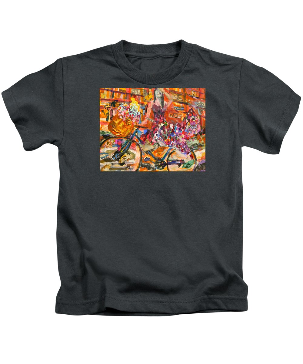Bicycle Kids T-Shirt featuring the mixed media Riding Through Life by Michael Cinnamond