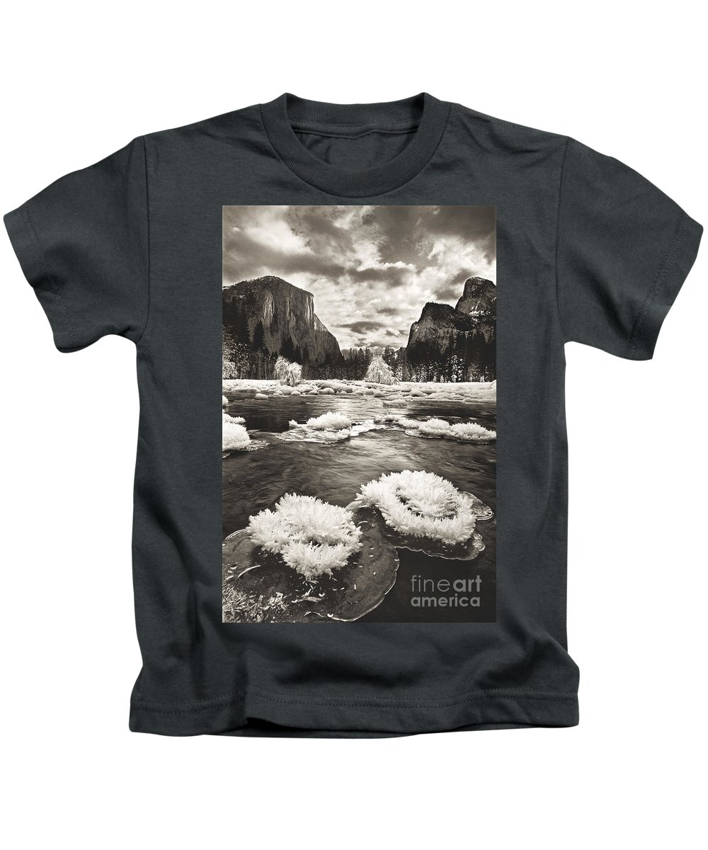 North America Kids T-Shirt featuring the photograph Rime Ice On The Merced In Black And White by Dave Welling