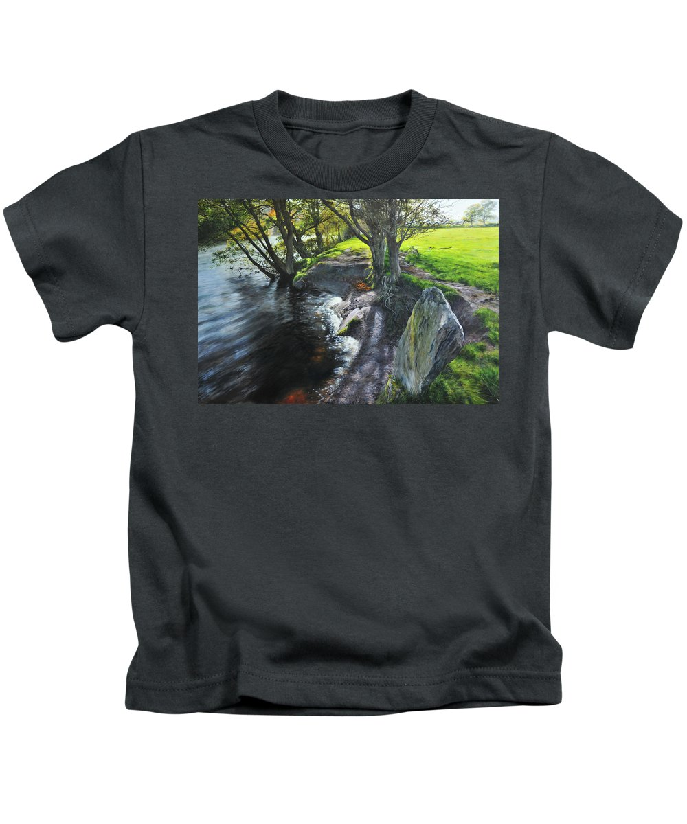 Landscape Kids T-Shirt featuring the painting River Dee At Rhug by Harry Robertson