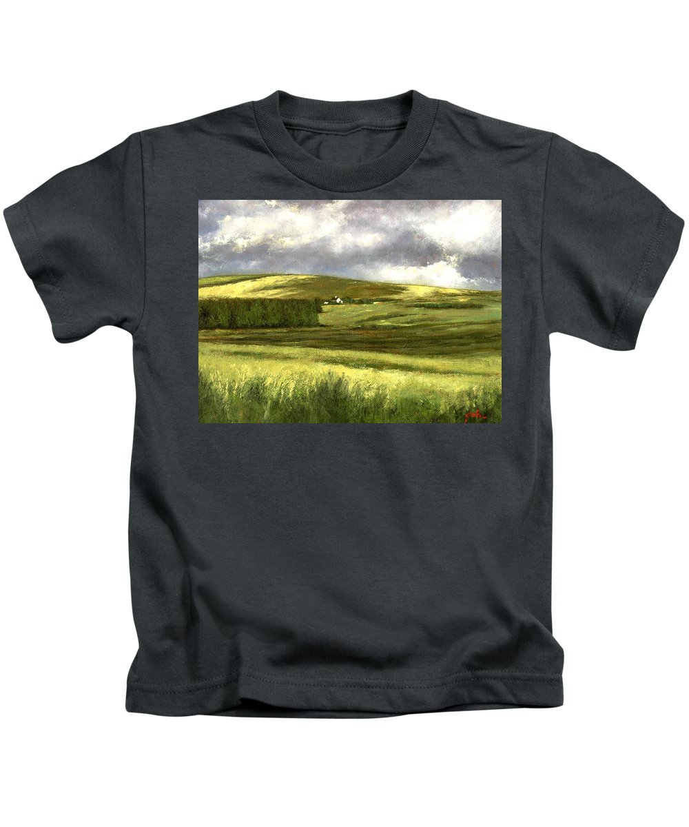 Irland Kids T-Shirt featuring the painting Road to Ardara by Jim Gola