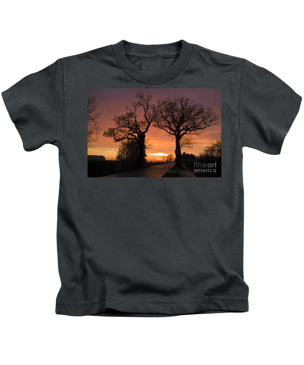 Heiko Kids T-Shirt featuring the photograph Road To The Night by Heiko Koehrer-Wagner