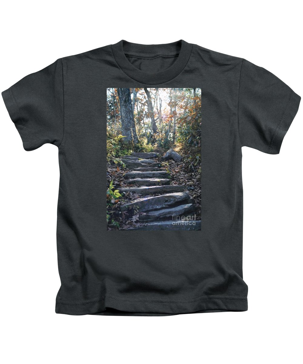 Nc Kids T-Shirt featuring the photograph Rock Stairs by Stacy C Bottoms