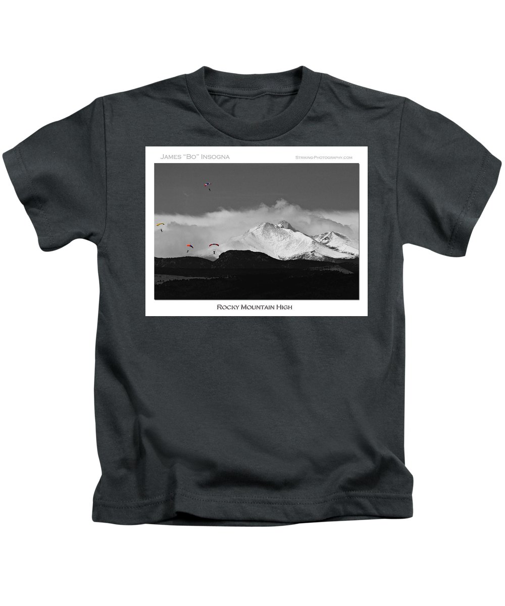 Boulder County; Boulder County The Book; Bouldercountybook.com; Colorado; Image; Photograph; Skydive; Skydiving; Mountains; Rocky Mountains; Snow Capped; Nature; Landscape; Parachuting; Jumps; Sport; Falling; Parachute; Free-fall; Skydivers Kids T-Shirt featuring the photograph Rocky Mountain High Poster Print by James BO Insogna