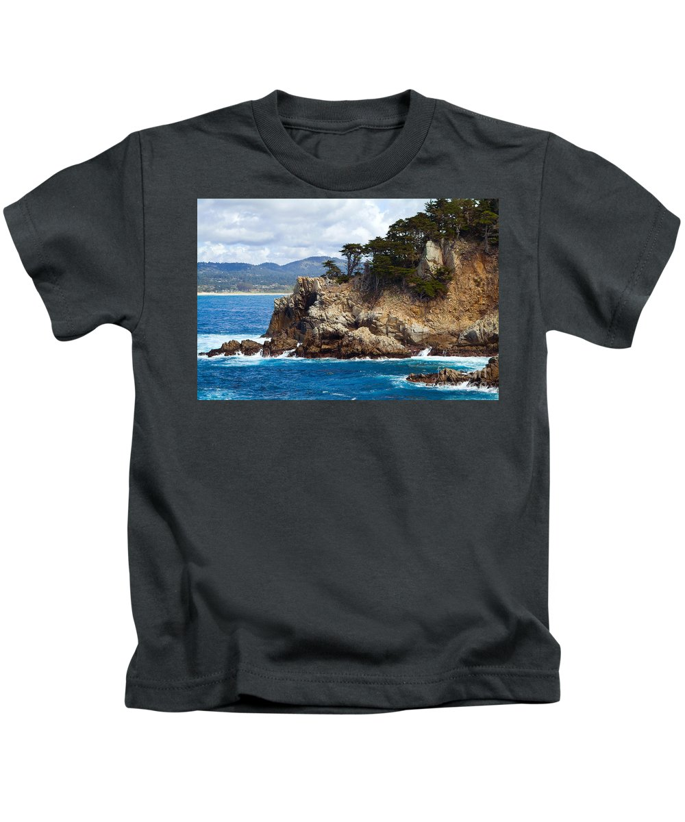 Point Lobos Kids T-Shirt featuring the photograph Rocky Outcropping At Point Lobos by Charlene Mitchell