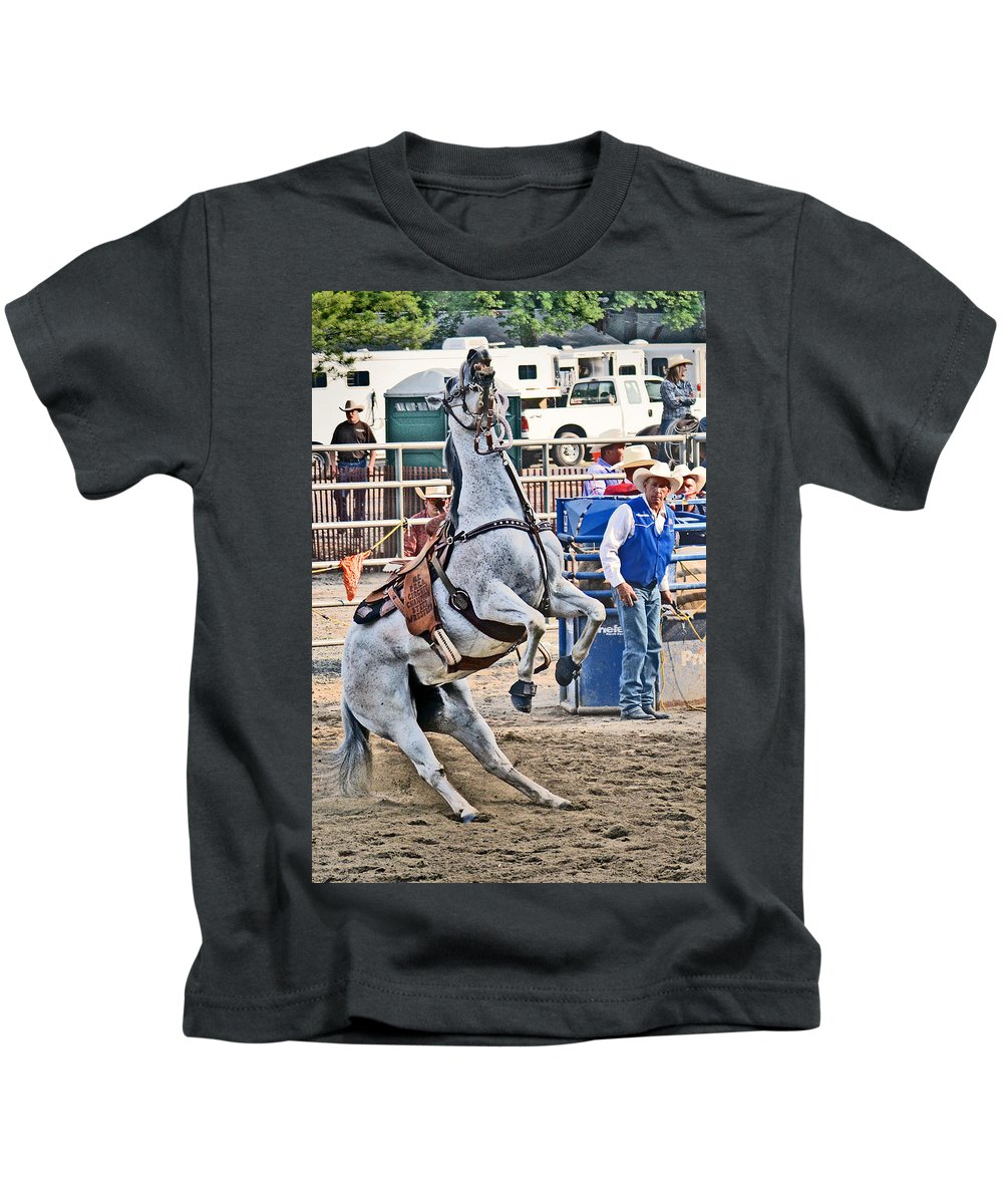Roping Kids T-Shirt featuring the photograph Rodeo Horse Cheers by Gary Keesler