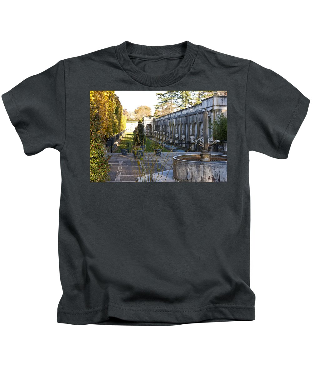 Roman Kids T-Shirt featuring the photograph Roman Gardens In Fall by Lou Ford