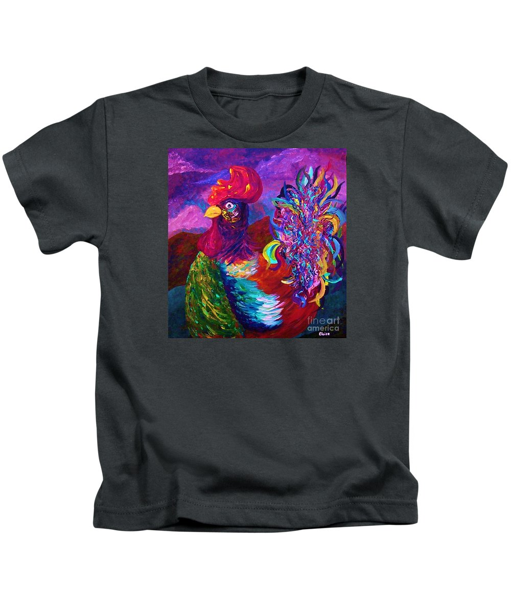 Rooster Kids T-Shirt featuring the painting Rooster On The Horizon by Eloise Schneider Mote