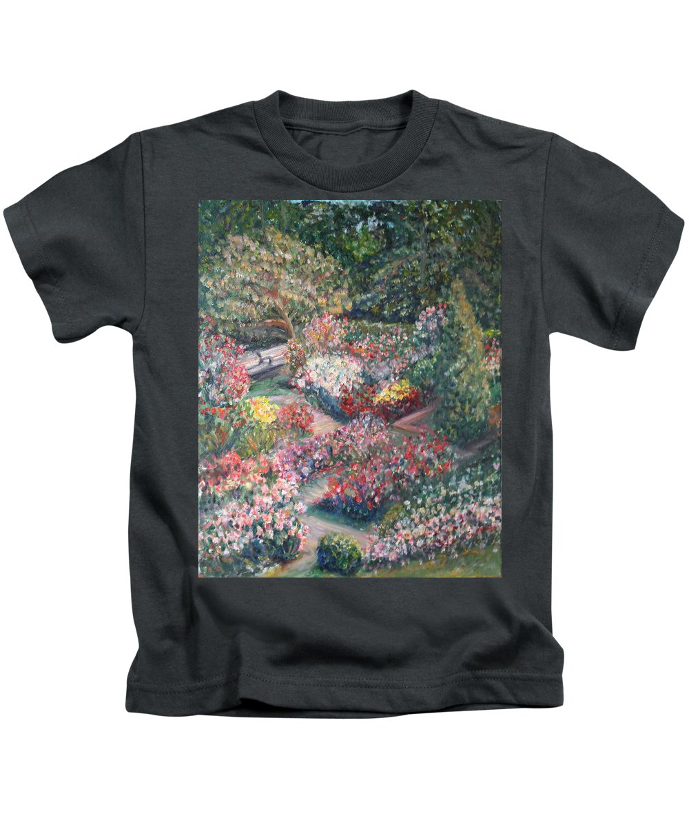 Impressionist Landscape Kids T-Shirt featuring the painting Rose Garden by Quin Sweetman