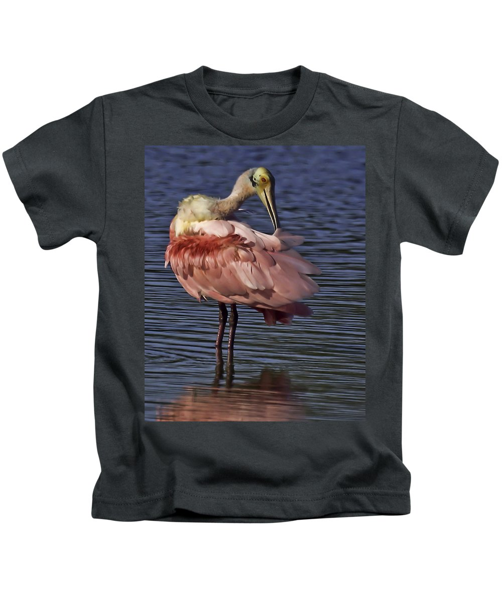 Roseate Kids T-Shirt featuring the photograph Roseate Spoonbill by James Ekstrom