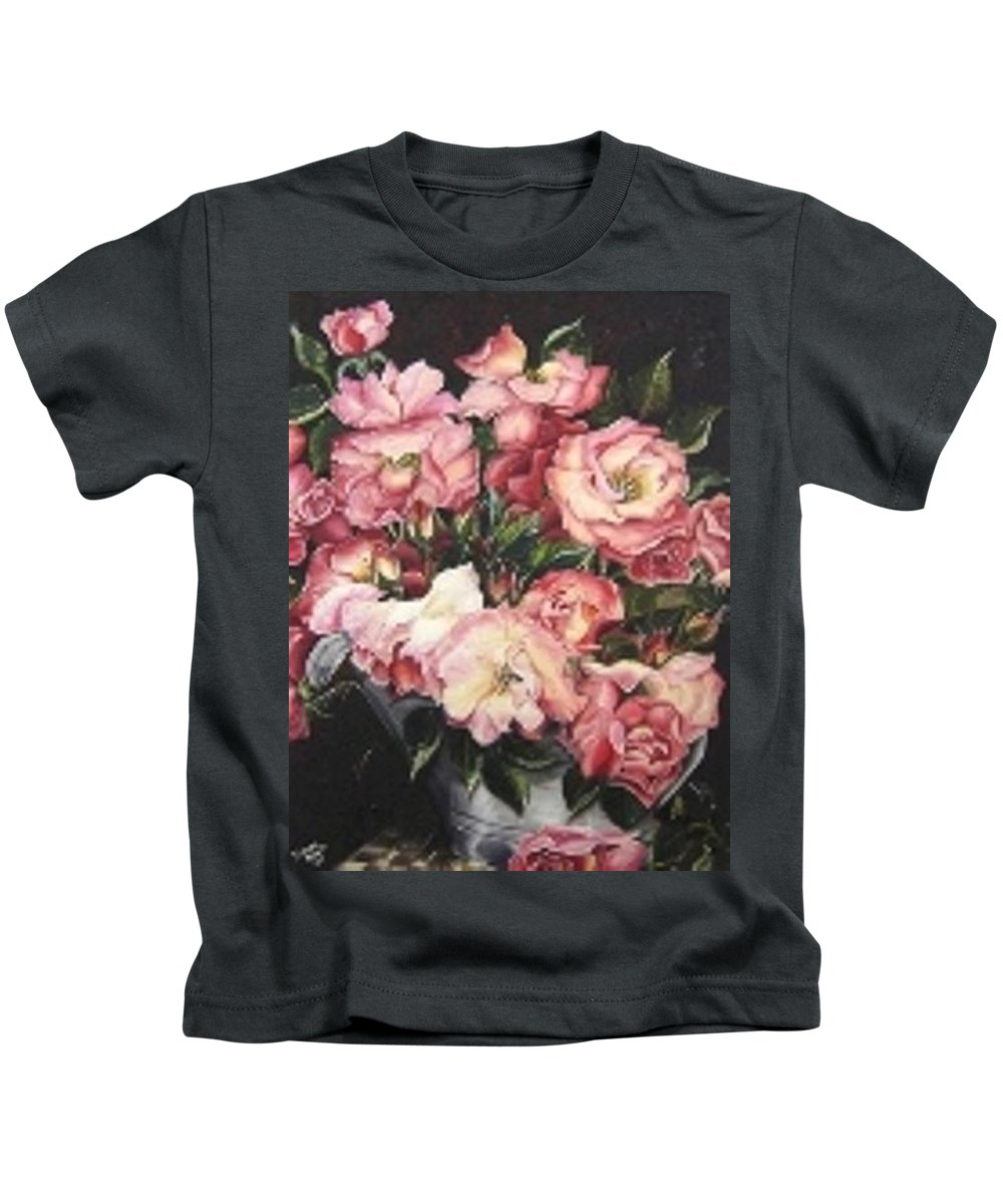 Pink Roses Floral Flowers Kids T-Shirt featuring the painting Roses In A Watercan by Karin Dawn Kelshall- Best