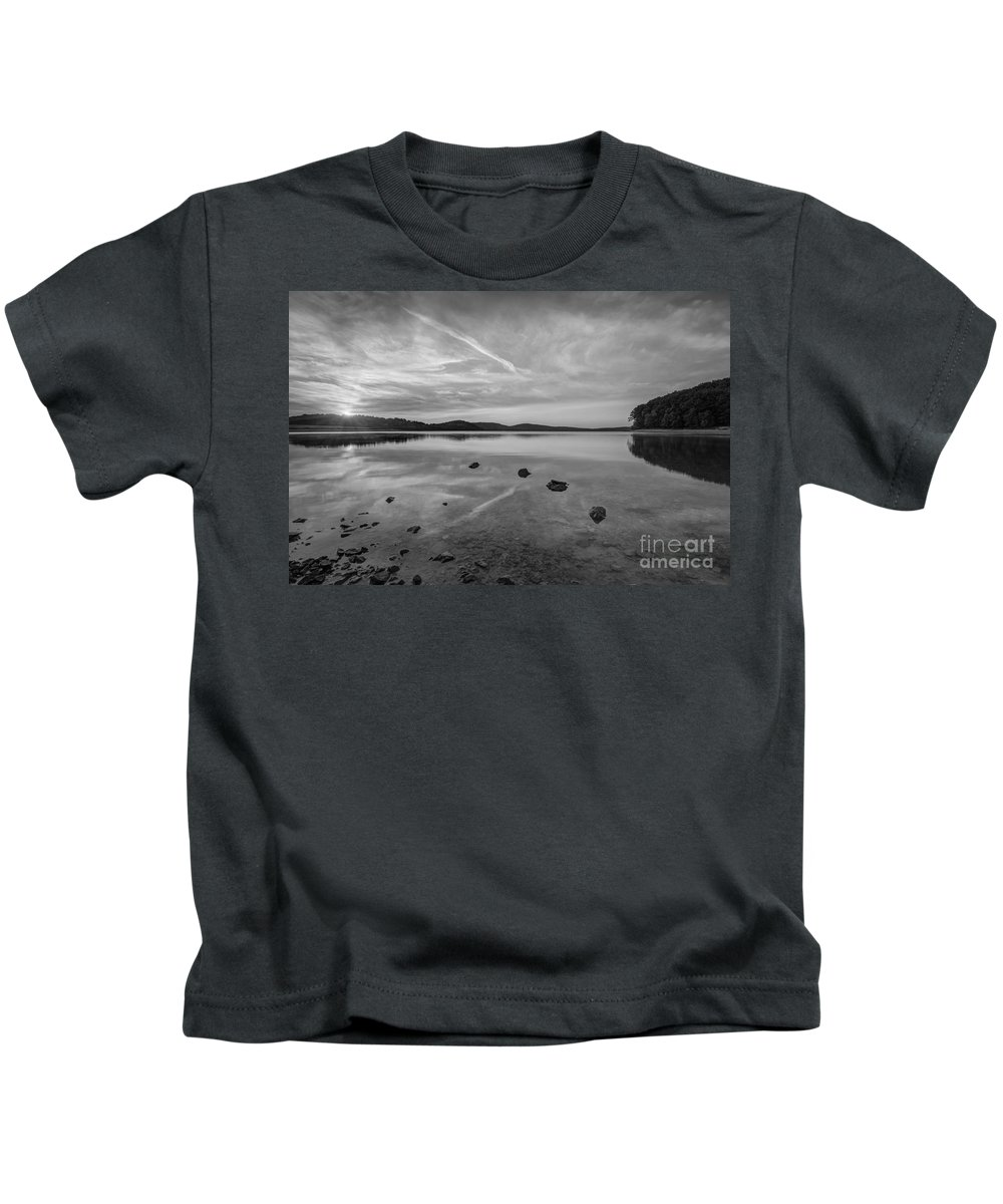 Milky Way Mike Kids T-Shirt featuring the photograph Round Valley Sunburst Bw by Michael Ver Sprill
