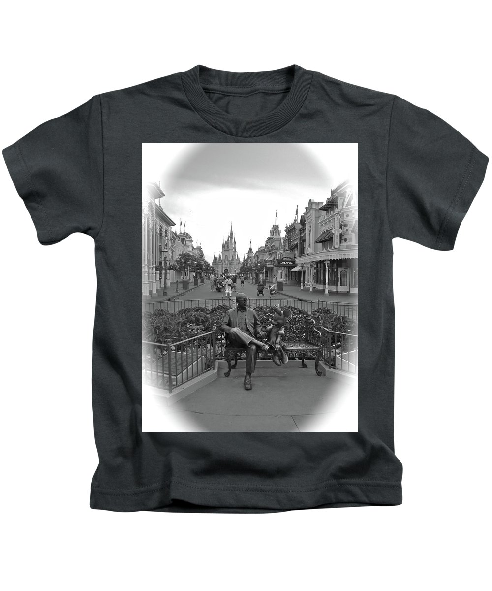 Black And White Kids T-Shirt featuring the photograph Roy And Minnie Mouse Black And White Magic Kingdom Walt Disney World by Thomas Woolworth