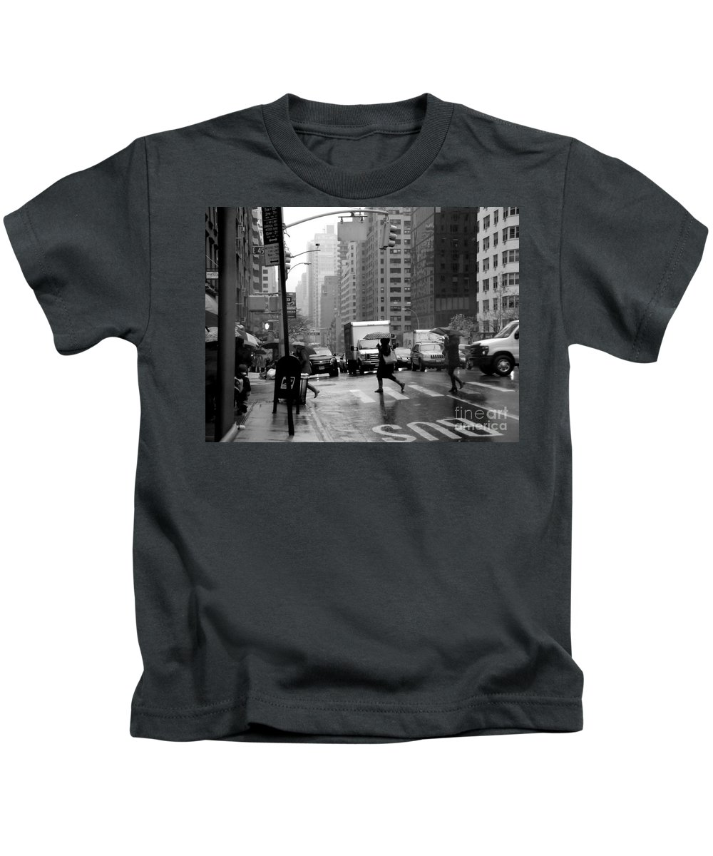 New York Kids T-Shirt featuring the photograph Running In The Rain - New York City Street Scene by Miriam Danar