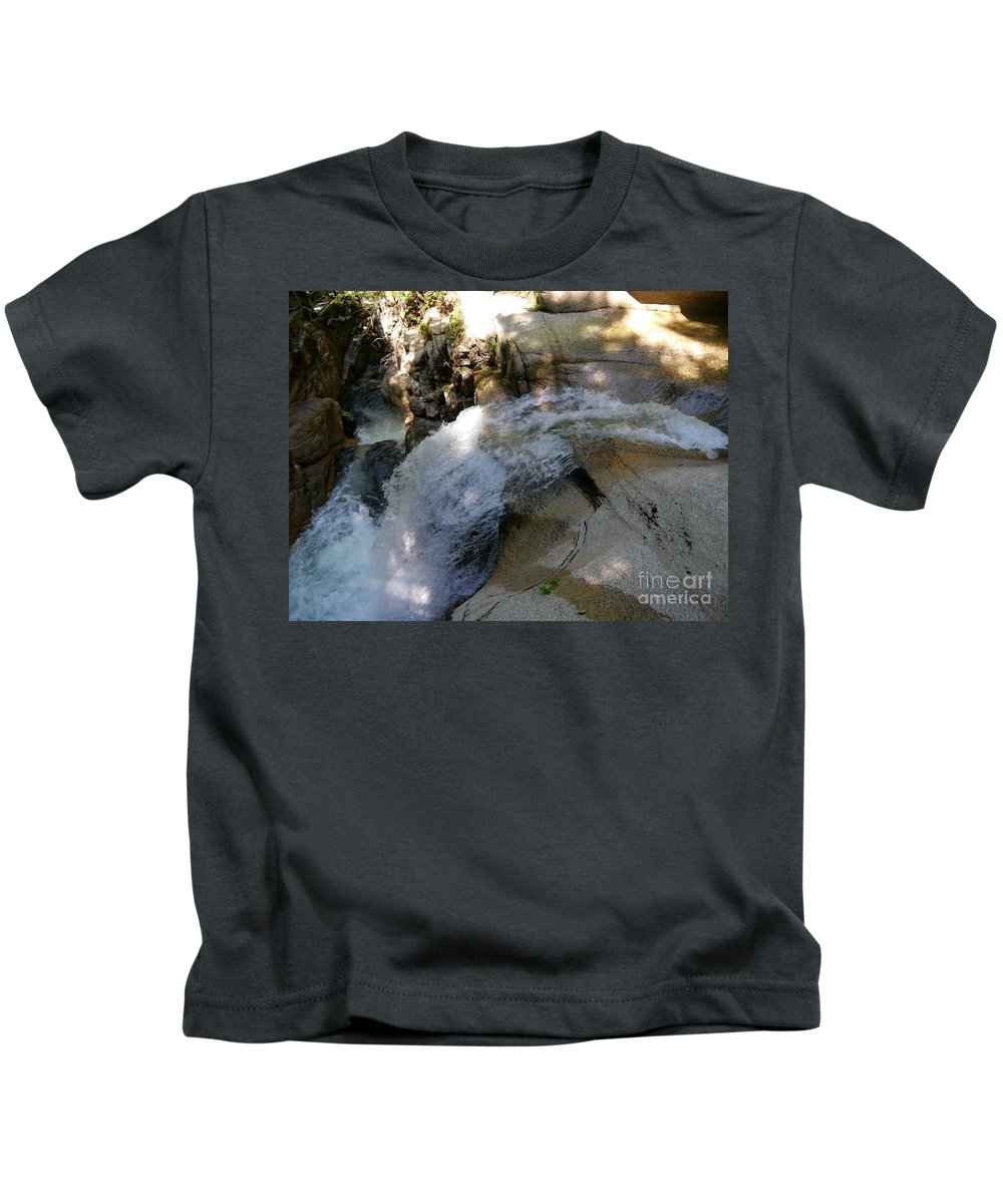 Fall Kids T-Shirt featuring the photograph Running Waters Of Sabbaday Falls by Christiane Schulze Art And Photography