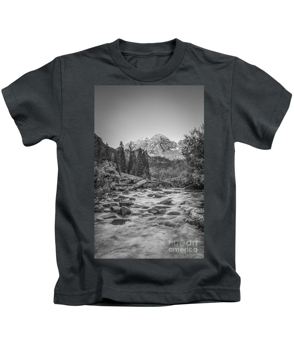 Colorado Kids T-Shirt featuring the photograph Runoff Bw by Michael Ver Sprill