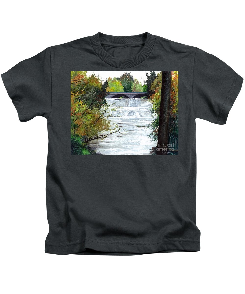 Water Color Paintings Kids T-Shirt featuring the painting Rushing Water - Quiet Thoughts by Barbara Jewell