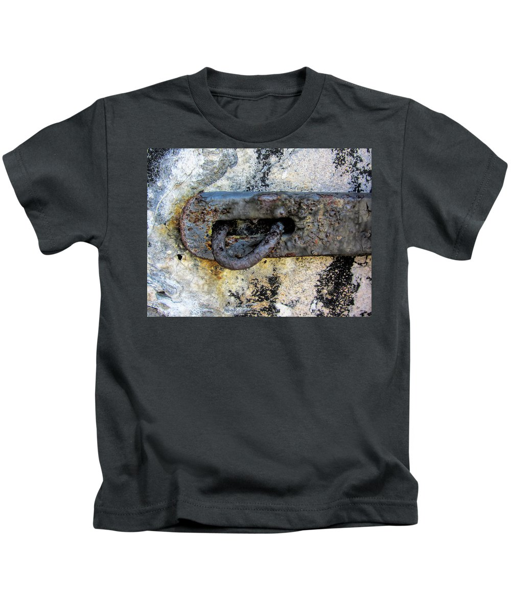 Rust Kids T-Shirt featuring the photograph Rusty Dusty And Grimy Lock Plate by Kathy Clark