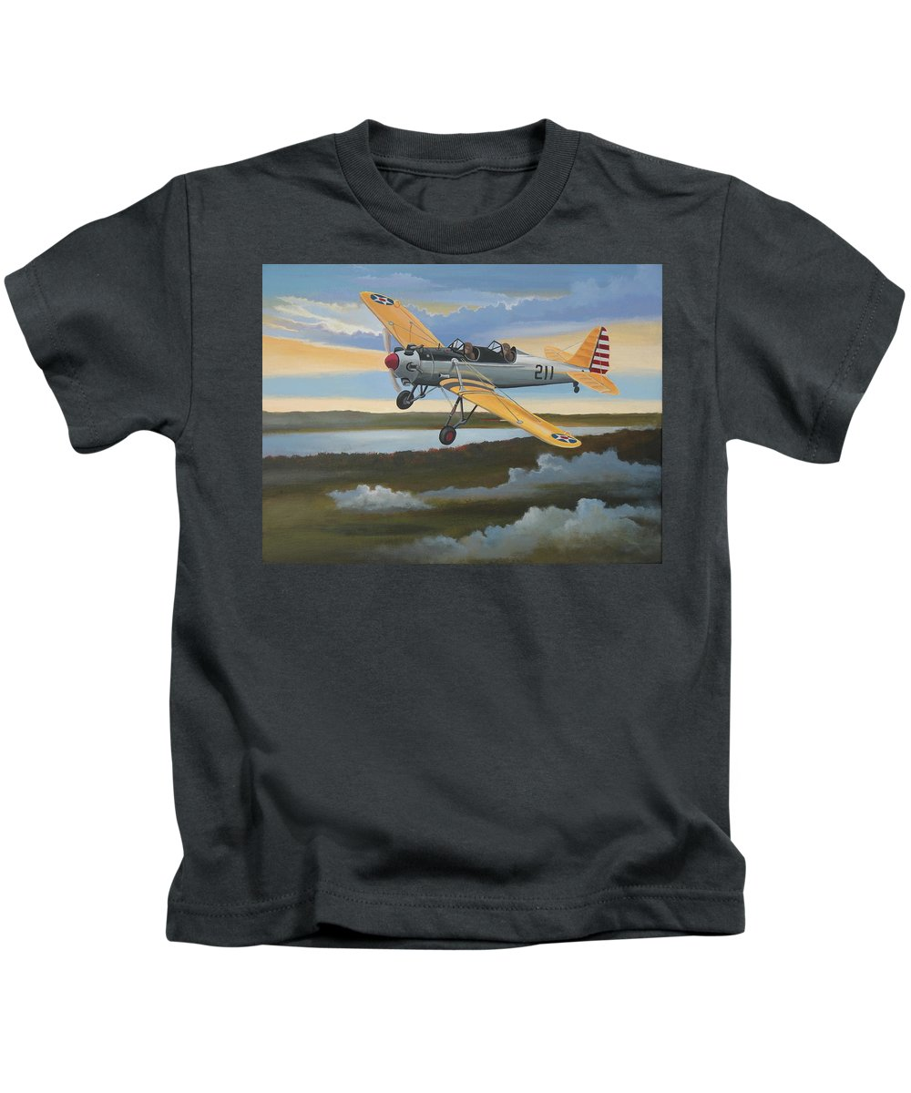 Aviation Kids T-Shirt featuring the painting Ryan Pt-22 Recruit by Stuart Swartz