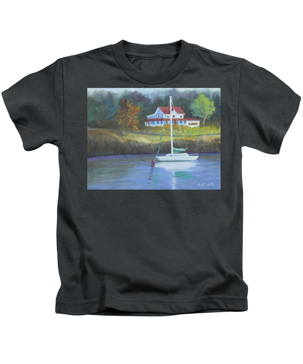 Seascape Landscape Ocean Cottage Rocky Coast Sail Boat Anchor Harbor Long Cove Fog Kids T-Shirt featuring the painting Safe Harbor by Scott W White