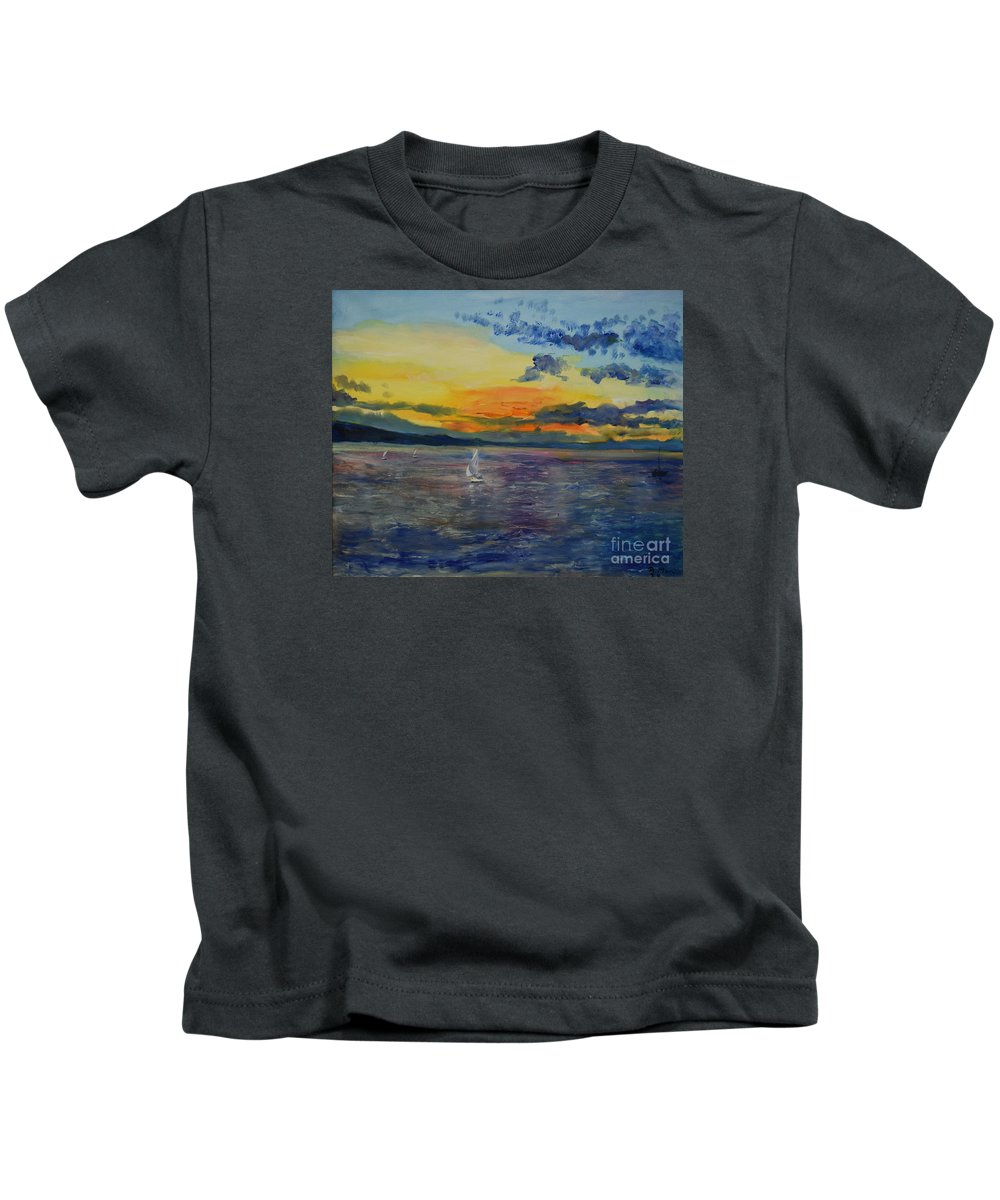 Raija Merila Kids T-Shirt featuring the painting Sailboats Near Stockholm by Raija Merila
