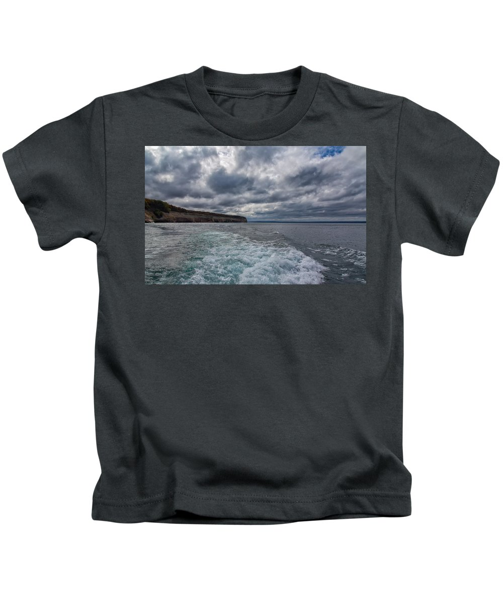 Pictured Rocks National Lakeshore Kids T-Shirt featuring the photograph Sailing Past Pictured Rocks by John M Bailey