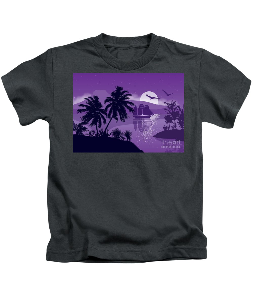Landscape Kids T-Shirt featuring the painting Sailing Ship With Sea Birds by Tim Gilliland