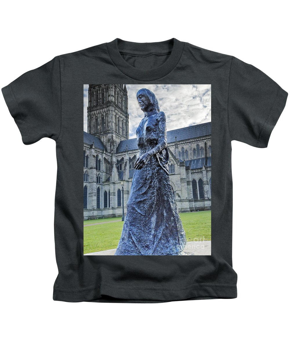 Salisbury Kids T-Shirt featuring the photograph Salisbury Cathedral And The Walking Madonna 2 by Linsey Williams