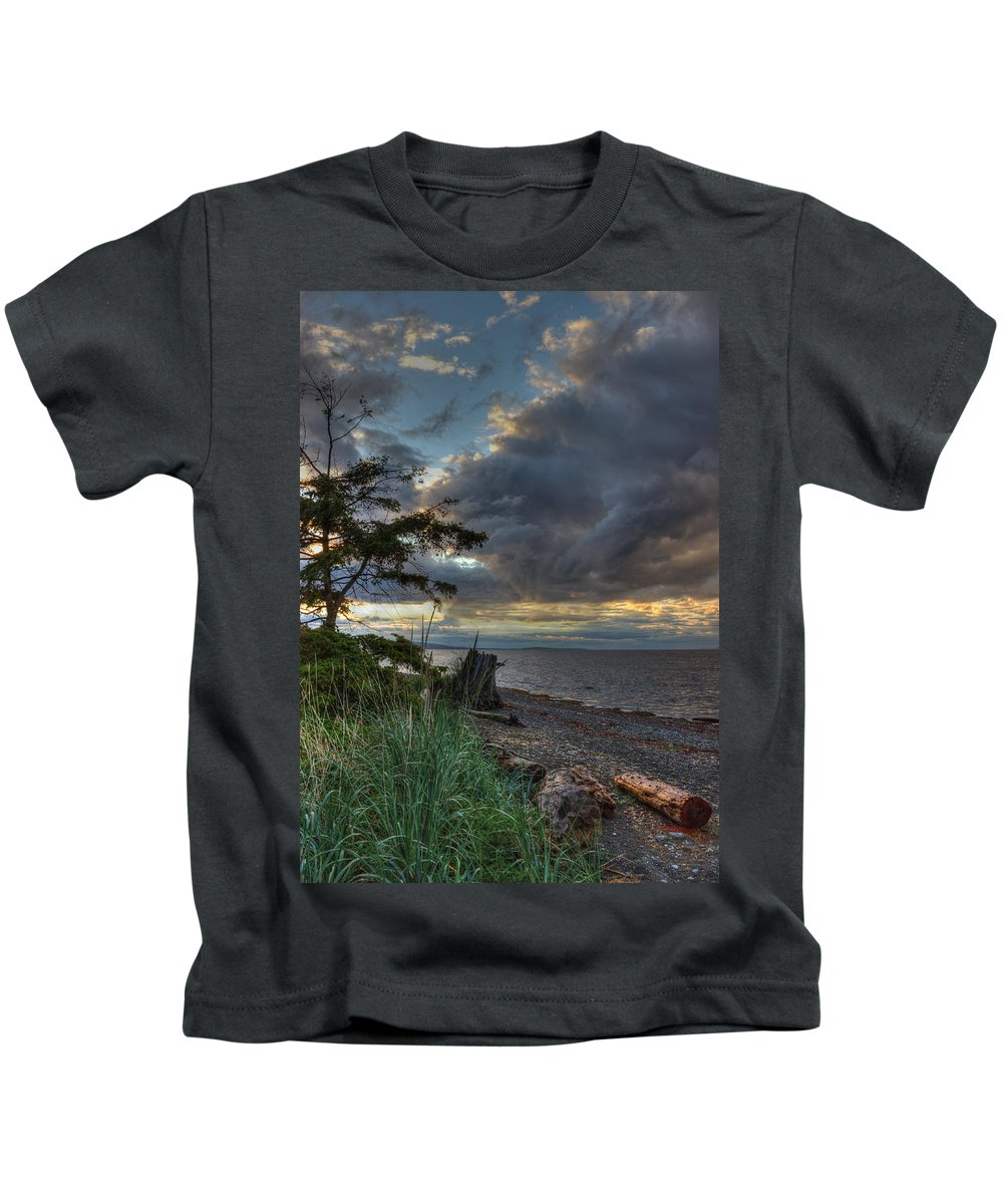 Water Kids T-Shirt featuring the photograph Salish Storm by Randy Hall