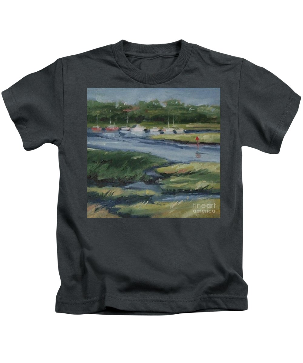 Doodlefly Kids T-Shirt featuring the painting Salt Marsh by Mary Hubley