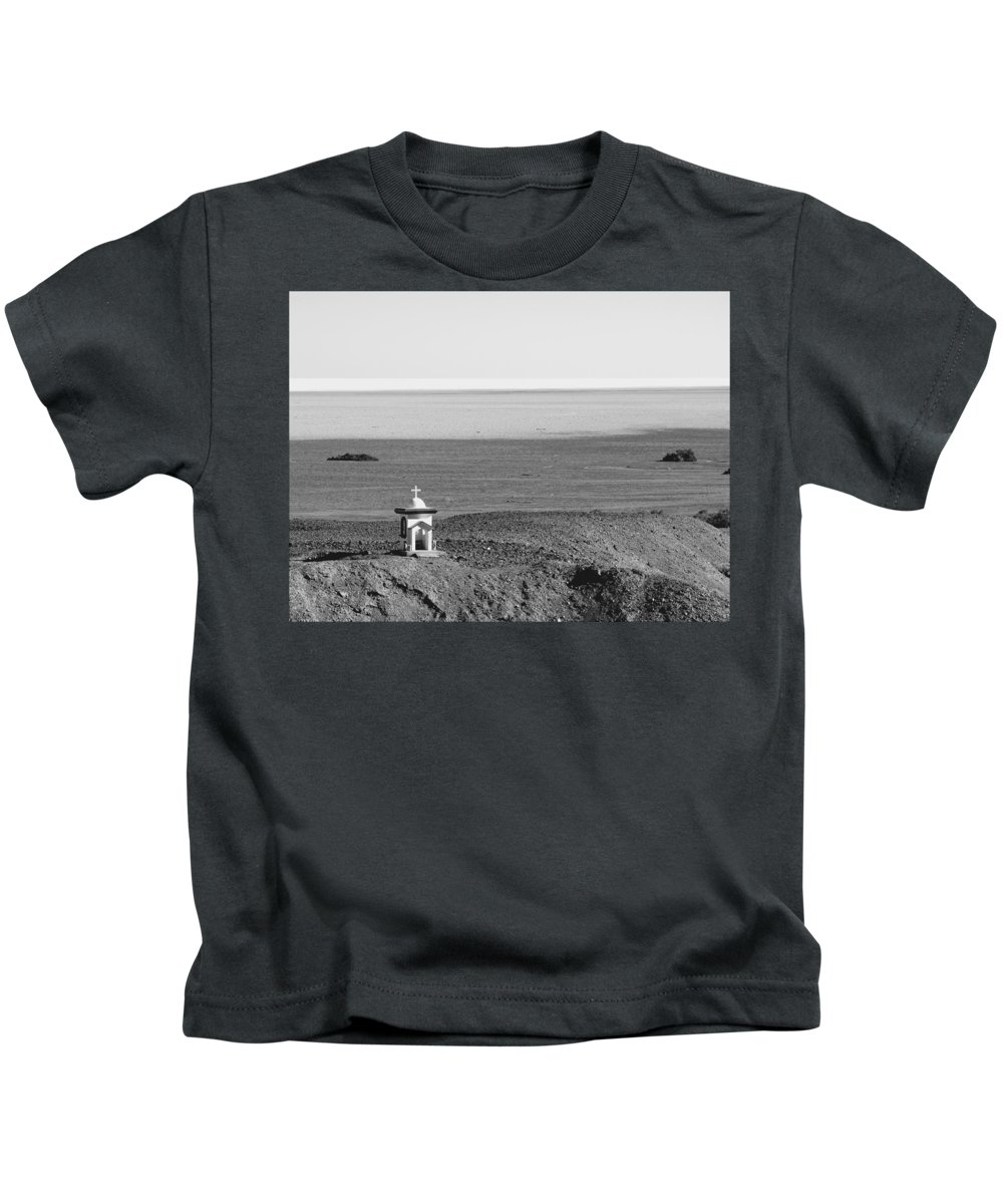Black And White Kids T-Shirt featuring the photograph San Felipe Shrines North 06 by Jeff Brunton