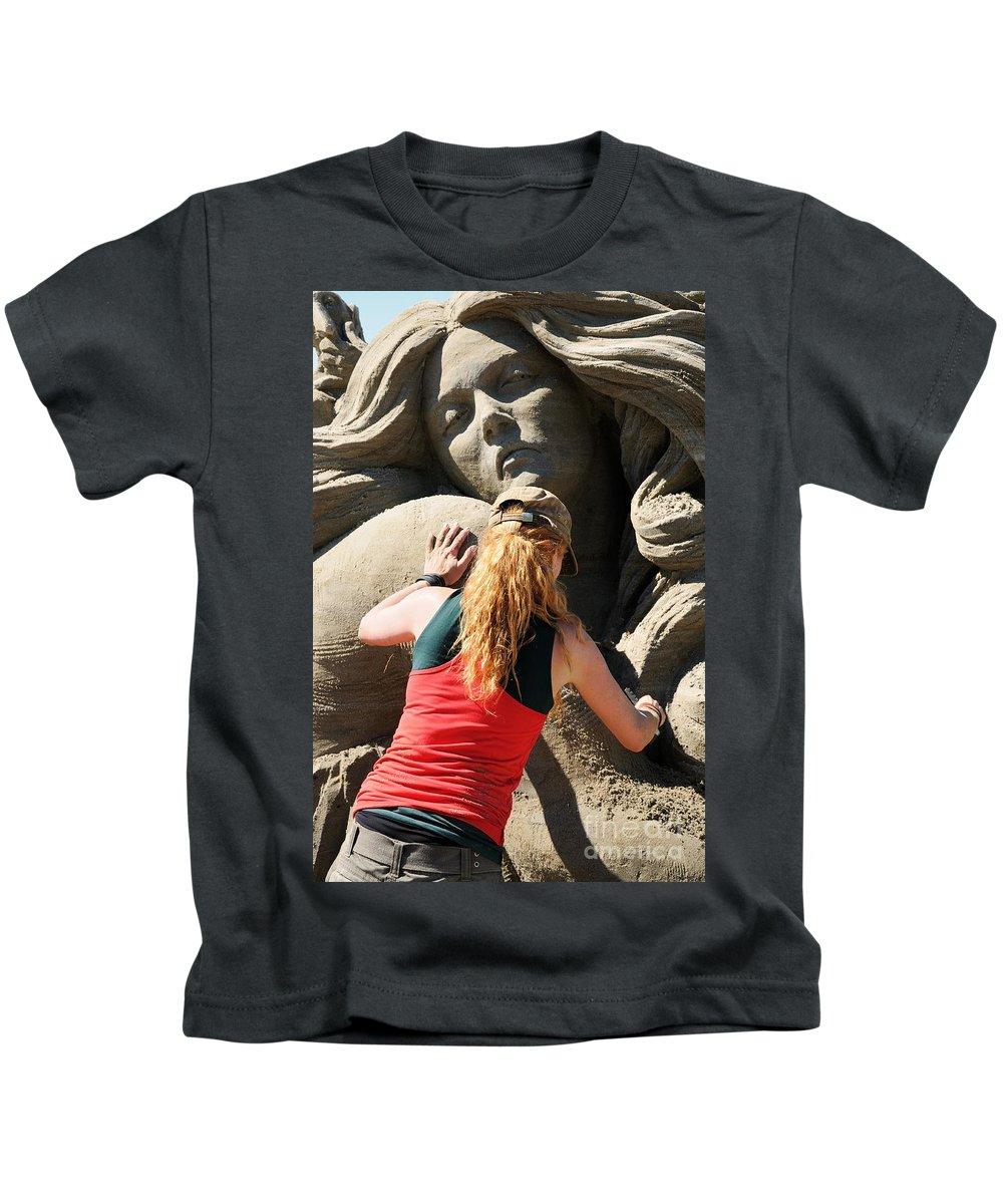 Sand Kids T-Shirt featuring the photograph Sand Sculptor by Vivian Christopher